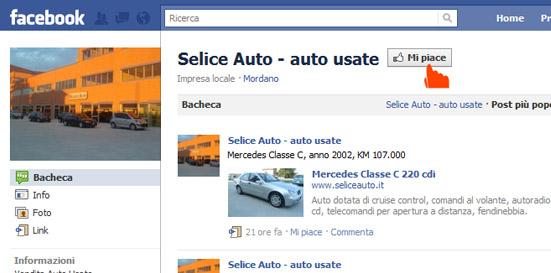 Selice Auto: automobili usate su Facebook